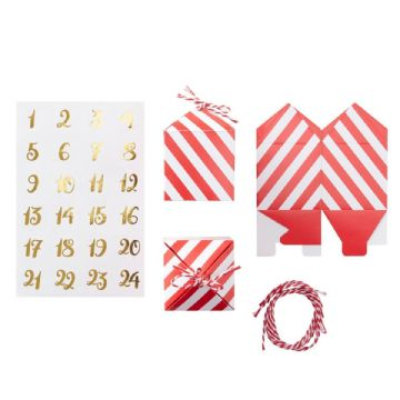 24 Red & White Christmas Advent Calendar Boxes